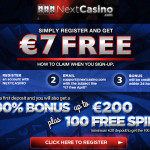 €/£/$7 No Deposit Casino Bonus + 100 Free Spins at Next Casino
