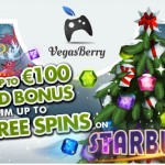 50% Reload bonus + 300 Free spins with NO wagering on Starburst available at VegasBerry Casino this week