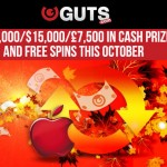 Guts Casino Lottery €10,000/$15,000/£7,500 in cash prizes and tons of free spins this October 2015