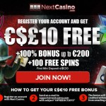 €£$10 FREE Next Casino No Deposit Bonus now available this October 2015 only