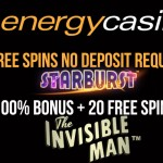 NEW Exclusive free spins offer from EnergyCasino : Get 10 Free Spins No Deposit Needed + 100% Bonus & 20 Free Spins on Invisible Man