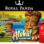 Get 25 Aloha Cluster Pays Free Spins EVERYDAY at Royal Panda Casino