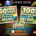 Glimmer Casino No Deposit Bonus Code for August 2016: 50 Free Spins NO DEPOSIT REQUIRED