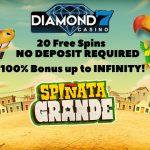 UNLOCK 20 Free Spins No Deposit Required + a 100% Bonus up to INFINITY at Diamond7 Casino