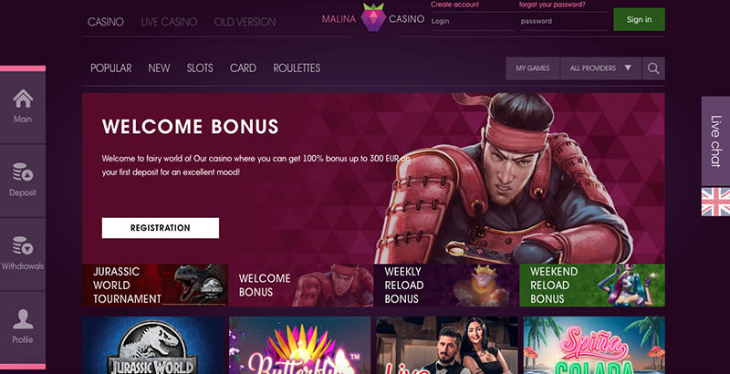 казино онлайн malina доступ из россии