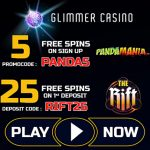 Glimmer Casino February 2018 Free Spins now available