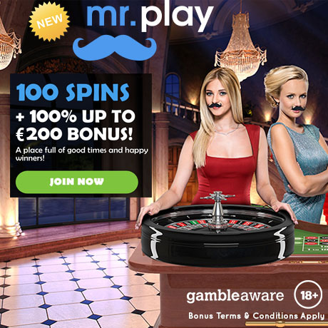 MR PLAY CASINO - 100 Spins + 100% Bonus