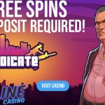 How to get Hotline Casino's 20 No Deposit Free Spins on the Syndicate Slot + 100% Bonus up to  $/€150 OR 50 Free Spins (No wager) on NetEnt's Hotline Slot when you deposit only $/€15