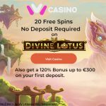 20 Divine Lotus Free Spins No Deposit Required + a 120% Bonus up to €/$300 now available at iViCasino