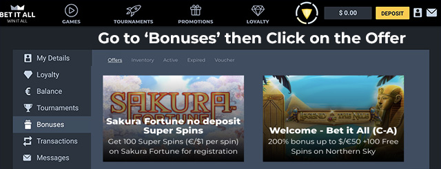 Bet it All No Deposit Free Spins