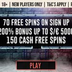 [EXCLUSIVE] This weeks life saver is here! Get an astounding 70 Extra Vegas free spins NO DEPOSIT REQUIRED on sign up and a Massive 200% Bonus on deposit