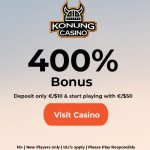 Konung Casino Bonus Code now available: Get an EXLCUSIVE 400% Bonus on your first deposit of only €10.