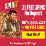 Spinit No Deposit Free Spins now available! Get our EXCLUSIVE 21 No Deposit Free Spins just for registering an account!